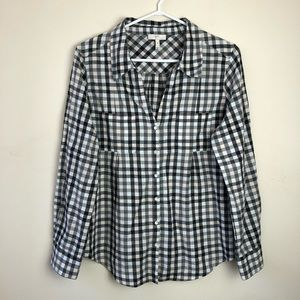 Joie size M button gingham long sleeve shirt